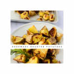 Shows the texture of the roasted yukon gold potatoes