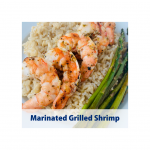 Shows texture of grilled shrimp