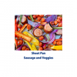 Shows the browned edges of the sausage and veggies